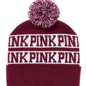 PINK Logo Victoria's Secret Beanie in Burgundy